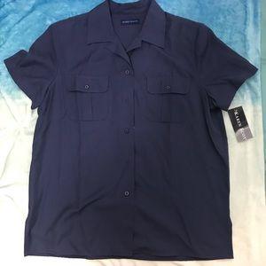 Karen Scott Ladies Padded Shoulder Buttoned Shirt